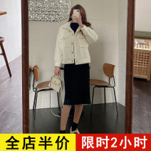 Dress Spring 2021 Off white coat JH black dress JH off white suit JH S M L XL 2XL 3XL 4XL longuette Two piece set Long sleeves commute square neck High waist Solid color other routine 18-24 years old Eileen Korean version pocket 10-30C8535 More than 95% polyester fiber Polyester 100%