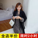 Women's large Spring 2021 Black suit coat [single piece] black dress [single piece] coat + dress [suit] Dress Two piece set commute easy moderate Cardigan Long sleeves Solid flower Korean version V-neck routine routine 8-31ax096 + ax128 black Eileen 18-24 years old longuette Polyester 100% other