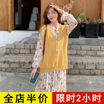 Dress Spring 2021 Yellow vest [single piece] floral dress [single piece] Vest + dress [suit] S M L XL 2XL 3XL 4XL Mid length dress Two piece set Long sleeves commute other Broken flowers Pleated skirt routine 18-24 years old Eileen Korean version 9-22C8571 More than 95% polyester fiber Polyester 100%