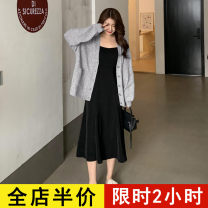 Dress Spring 2021 248 sweater KY 259 suspender skirt KY 248 sweater + 259 suspender skirt KY S M L XL 2XL 3XL 4XL longuette Two piece set Long sleeves commute other High waist Solid color other routine camisole 18-24 years old Eileen Korean version 10-21AC248+AC259 More than 95% polyester fiber
