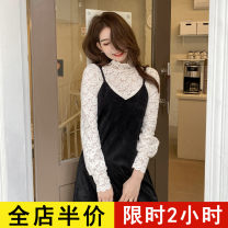 Dress Spring 2021 Suit JH S M L XL 2XL 3XL 4XL Mid length dress Two piece set Long sleeves commute High collar Solid color other routine 18-24 years old Eileen Korean version 12-30C8800-XX More than 95% polyester fiber Polyester 95% polyurethane elastic fiber (spandex) 5%