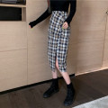 skirt Autumn 2020 S,M,L lattice Mid length dress commute High waist skirt lattice Type A 18-24 years old 31% (inclusive) - 50% (inclusive) Button, stitching Korean version