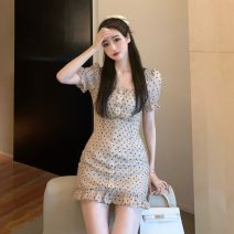 Dress Summer 2021 Apricot S, M Short skirt singleton  Short sleeve commute square neck other other Ruffle Skirt other Others 18-24 years old Type A Korean version 31% (inclusive) - 50% (inclusive) Chiffon polyester fiber