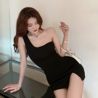 Dress Summer 2020 black Average size Short skirt singleton  Sleeveless commute V-neck High waist Solid color zipper A-line skirt other camisole 18-24 years old Type A Korean version Nail bead 31% (inclusive) - 50% (inclusive) other other