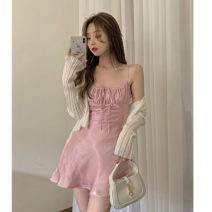 Fashion suit Summer 2021 Average size Pink suspender skirt 6222, white knitted cardigan 8960 18-25 years old 31% (inclusive) - 50% (inclusive)