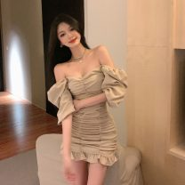 Dress Summer 2021 Khaki Ruffle Dress S, M Short skirt singleton  elbow sleeve commute V-neck High waist Solid color zipper Ruffle Skirt other Others 18-24 years old Korean version Lotus leaf edge 31% (inclusive) - 50% (inclusive) polyester fiber