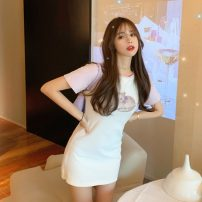 Dress Spring 2021 violet Average size Short skirt singleton  Short sleeve commute Crew neck High waist Solid color Socket A-line skirt routine Others 18-24 years old Type A Korean version printing 31% (inclusive) - 50% (inclusive) brocade polyester fiber