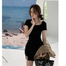 Dress Summer 2021 black Average size Short skirt singleton  Short sleeve commute other Solid color Socket other other Others 18-24 years old Korean version 31% (inclusive) - 50% (inclusive)