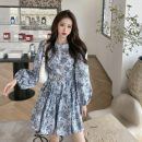 Dress Autumn 2020 Picture color S, M Short skirt singleton  Long sleeves commute Crew neck High waist other other puff sleeve Others 18-24 years old Korean version 31% (inclusive) - 50% (inclusive) Chiffon