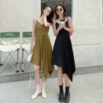Dress Spring 2021 Black, mustard green S,M,L Middle-skirt singleton  Sleeveless commute V-neck High waist Solid color Socket other other camisole 18-24 years old Type A Korean version 31% (inclusive) - 50% (inclusive) other polyester fiber