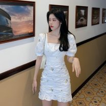 Dress Summer 2021 Picture color S,M,L Short skirt singleton  Short sleeve commute square neck Broken flowers Socket Ruffle Skirt routine Others 18-24 years old Type A Korean version 31% (inclusive) - 50% (inclusive) other other