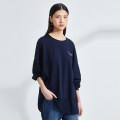 T-shirt Solid dark blue S M L Summer 2021 three quarter sleeve Crew neck easy Regular routine commute cotton 96% and above 30-34 years old Simplicity other Solid color OTT Splicing Cotton 100%