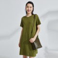 Dress Summer 2021 Striped olive green S M L XL Mid length dress singleton  Short sleeve commute Crew neck Loose waist stripe Socket One pace skirt routine 30-34 years old Type H OTT Simplicity OD1301872 81% (inclusive) - 90% (inclusive) cotton Cotton 82% polyamide 18%