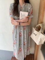 Dress Spring 2021 Green, blue Average size Mid length dress singleton  Short sleeve commute other High waist Decor Socket Big swing routine Others 18-24 years old Type H Other / other Korean version Lace up, tie, button 31% (inclusive) - 50% (inclusive) Chiffon polyester fiber