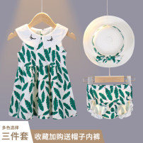 Dress female Scallion scallops Cotton 95% polyurethane elastic fiber (spandex) 5% summer princess Skirt / vest Broken flowers cotton Pleats Class A Summer of 2018 12 months, 6 months, 9 months, 18 months, 2 years, 3 years, 4 years, 5 years, 6 years Chinese Mainland Henan Province Anyang City