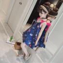 Dress Dark blue (floral dress) Zhimi female 110cm120cm130cm140cm150cm160cm Other 100% summer Korean version Skirt / vest Broken flowers other other eighty thousand two hundred and twenty Class B Summer of 2018