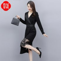 Dress Spring 2021 Picture color M L XL XXL Mid length dress singleton  Long sleeves commute V-neck High waist Solid color Socket A-line skirt routine Others 25-29 years old La'terraneo / talineo Korean version Frenulum More than 95% polyester fiber Polyester 100%