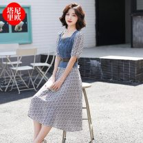 Dress Summer 2021 Picture color M L XL Mid length dress Fake two pieces Short sleeve commute square neck High waist lattice Socket A-line skirt routine 18-24 years old Type A La'terraneo / talineo Simplicity Button LAX1607 More than 95% polyester fiber Polyester 100%