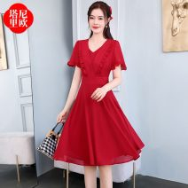 Dress Summer 2021 Red purple pink M L XL XXL Mid length dress singleton  Short sleeve commute V-neck High waist Solid color Socket A-line skirt routine 30-34 years old Type A La'terraneo / talineo zipper LAX2232 More than 95% other polyester fiber Polyester 100%