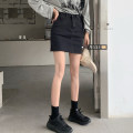 skirt Summer 2020 S,M,L Black, denim Short skirt High waist Solid color Type A 8192#