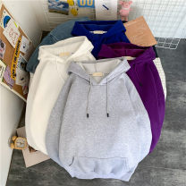 Sweater Youth fashion Others Black, white, gray, blue S,M,L,XL,2XL,3XL Solid color Socket Plush Hood autumn easy leisure time teenagers tide routine Drawstring No iron treatment