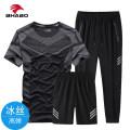 Leisure sports suit summer M,L,XL,2XL,3XL A black, a white, b black, B white, B ink blue, B blue gray, B royal blue Short sleeve Fierce trousers youth T-shirt nylon 2020