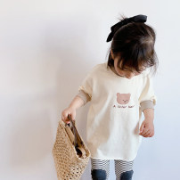 T-shirt Beige, bean paste, black stripe pants, beige dots pants Other / other 80cm,90cm,100cm,110cm,120cm,130cm female spring and autumn Long sleeves Crew neck Korean version There are models in the real shooting nothing cotton Solid color Cotton 100% Sweat absorption Chinese Mainland