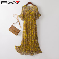 Dress Summer 2021 yellow M L XL XXL Mid length dress Two piece set Short sleeve street V-neck Loose waist Decor Socket Petal sleeve 30-34 years old bxv 21BBAO2022P More than 95% silk Mulberry silk 100% Europe and America