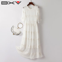 Dress Summer 2021 white S M L XL XXL Mid length dress singleton  Long sleeves street Crew neck High waist Socket routine 30-34 years old bxv 21BBAO2031P More than 95% silk Mulberry silk 100% Europe and America