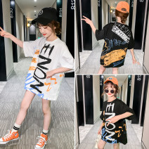 T-shirt White black Jiali cat 110cm 120cm 130cm 140cm 150cm 160cm female summer Short sleeve Crew neck Korean version There are models in the real shooting nothing cotton other Cotton 95% polyurethane elastic fiber (spandex) 5% Graffiti T-shirt Class B Sweat absorption Summer 2020
