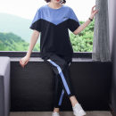 Women's large Summer 2021 XL [120-150 Jin recommended] 2XL [150-175 Jin recommended] 3XL [175-200 Jin recommended] 4XL [200-230 Jin recommended] Other oversize styles Two piece set commute easy thin Short sleeve Korean version Crew neck routine Collage other Stone fish 30-34 years old pocket