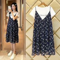 Dress Happy picture [Stock] blue two piece set [Stock] blue (Short Sleeve Dress + maternity safety pants) M L XL XXL XXXL Korean version Short sleeve have more cash than can be accounted for summer Crew neck Decor Chiffon