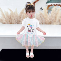 Dress White purple female McDonnell 80cm 90cm 100cm 110cm 120cm 130cm Other 100% summer Korean version Short sleeve Kitty other other Class A Summer 2021 12 months, 18 months, 2 years old, 3 years old, 4 years old, 5 years old, 6 years old and 7 years old Chinese Mainland Guangdong Province