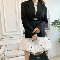 skirt Spring 2021 XS,S,M,L Black suit, white suit, black skirt, white skirt Short skirt Natural waist Flower bud skirt Solid color 25-29 years old More than 95% Ellielips cotton