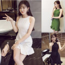 Dress Summer of 2019 Black, white, green S,XL,L,M Short skirt singleton  commute Crew neck middle-waisted Solid color Socket Ruffle Skirt Lotus leaf sleeve Others 25-29 years old Stitching, ruffles 71% (inclusive) - 80% (inclusive) other