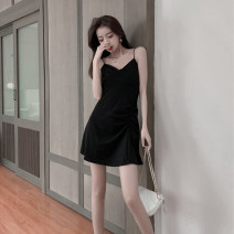 Dress Summer 2021 Black, gray S,M,L,XL Short skirt singleton  Sleeveless commute V-neck High waist Solid color Socket A-line skirt camisole 18-24 years old Type A Korean version Open back, fold 71% (inclusive) - 80% (inclusive)