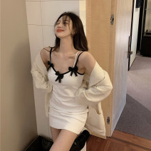 Dress Summer 2021 white Average size Short skirt singleton  Sleeveless commute V-neck High waist Solid color Socket One pace skirt camisole 18-24 years old Type A Korean version Bow, open back 71% (inclusive) - 80% (inclusive) polyester fiber