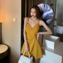 Dress Summer 2021 Yellow, black S,M,L Short skirt singleton  Sleeveless commute V-neck High waist Solid color A-line skirt camisole 25-29 years old Type A Korean version backless 71% (inclusive) - 80% (inclusive)