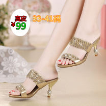 Sandals 33,34,35,36,37,38,39,40,41 Black, gold, purple, black middle heel, gold middle heel, purple middle heel, gold fashion top layer leather Other / other Barefoot Fine heel High heel (5-8cm) Summer 2020 Sweet Solid color Adhesive shoes Youth (18-40 years old), middle age (40-60 years old) rubber