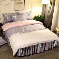 Bedding Set / four piece set / multi piece set cotton other Solid color 128x68 Flower pillow cotton 4 pieces 40 Bed skirt 100% cotton twill Reactive Print