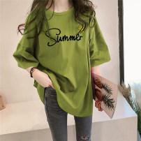 T-shirt M,L,XL,2XL Summer 2021 Short sleeve Crew neck easy Medium length routine commute cotton 96% and above Korean version originality