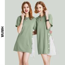 Dress Spring 2021 green S M L XL Short skirt singleton  Short sleeve street Crew neck Loose waist other routine Others 30-34 years old HAVVA Q6256 31% (inclusive) - 50% (inclusive) nylon Same model in shopping mall (sold online and offline) Europe and America