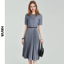 Dress Spring 2021 Light grey dark grey S M L XL Mid length dress singleton  Short sleeve street Crew neck middle-waisted zipper Pleated skirt routine 30-34 years old HAVVA Q7281 71% (inclusive) - 80% (inclusive) polyester fiber Polyester 79.9% viscose 20.1% Europe and America