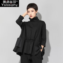 T-shirt black M L Spring of 2019 Long sleeves Half high collar easy Regular routine street other 96% and above 25-29 years old Yalosiphy / yalosiphy YLSF-9969 Pocket stitching Other 100% Pure e-commerce (online only) Europe and America