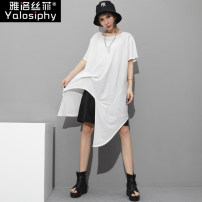 T-shirt Black and white Average size Summer 2020 Short sleeve Crew neck easy Medium length routine street other 96% and above 30-39 years old classic Solid color Yalosiphy / yalosiphy Asymmetric fold Other 100% Europe and America