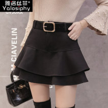 skirt Winter 2017 S M L XL 2XL Black Caramel Short skirt commute High waist A-line skirt Solid color Type A Yalosiphy / yalosiphy Korean version Pure e-commerce (online only)