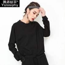 T-shirt black M L XL Autumn of 2018 Long sleeves Crew neck easy Regular routine street other 96% and above 25-29 years old Yalosiphy / yalosiphy YLSF-9903 Other 100% Pure e-commerce (online only) Europe and America