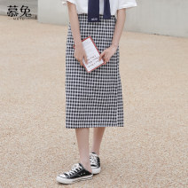skirt Summer 2021 S M L Coffee lattices black and white lattices Mid length dress commute High waist A-line skirt lattice Type A 18-24 years old MT0903 More than 95% Wool Moxa rabbit polyester fiber zipper Polyester 100% Pure e-commerce (online only)