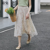 skirt Summer of 2019 S M L Apricot Mid length dress fresh High waist A-line skirt 18-24 years old MT5803 More than 95% Moxa rabbit polyester fiber Polyester 100% Pure e-commerce (online only)