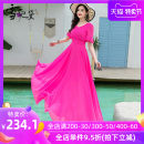 Dress Summer 2020 rose red S M L XL XXL XXXL longuette singleton  Short sleeve commute V-neck middle-waisted Solid color Socket Big swing pagoda sleeve Others 30-34 years old Type A Snow Princess lady Ruffle zipper LYQ-19387 More than 95% Chiffon polyester fiber Polyester 98% other 2%